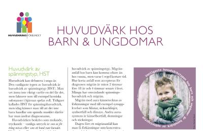 Huvudvärksförundets infoblad om huvudvärk hos barn och ungdomar, klicka på mig för att läsa.