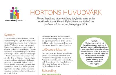 Huvudvärksförbundets infoblad om Hortons huvudvärk