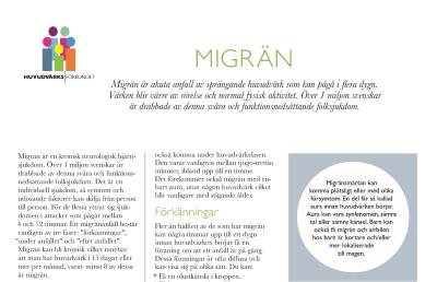 Huvudvärksförbundets infoblad om Migrän